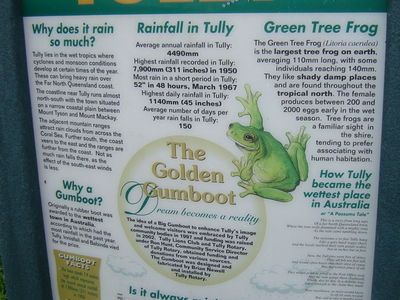 Sign With Details Of The Golden Gumboot At Tully
