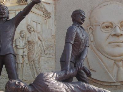 Bhim Sainiks With B. R. Ambedkar In The Background
