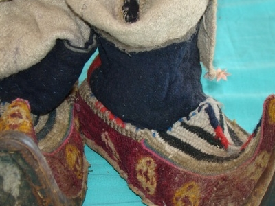Tradiotnal Ladakhi, Mongolian, Tibetan Shoes - Local Name: Papu. Period: 17th Century