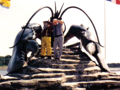 Winston Bronnum With His Sculpture