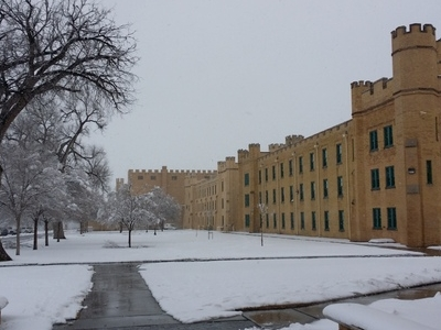 Winter View Of The North Side Of Hagerman Barracks