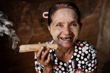 Myanmar Lady Smoking Cigar