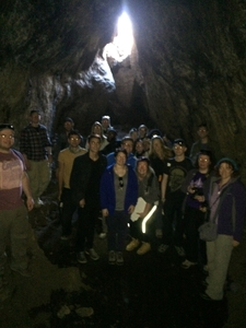 Visit To A Lava Tube With A Group Of British Students
