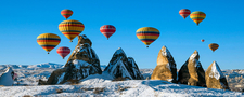 Balloons Over Snow Cappadocia Turkey