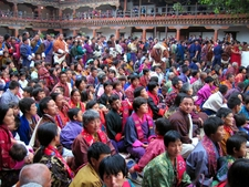 Bhutanese People In National Dress At The Wangdi Phodrang Festival.