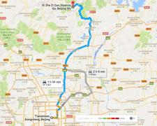 Tiananmen To Jiankou Xizhazicun Great Wall Route Map