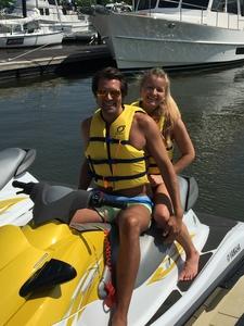 Couple At Dock Jet Ski