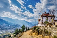Mountain Village With Rural Road On A Sunny Summer Day Bhutan Copie