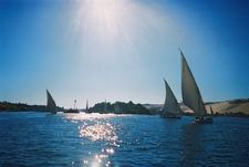 Faluka Sailing Boats On The Nile Near Kitcheners Island Aswan Egypt Sew