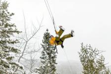 Ziplining Winter Western Newfoundland And Labrador Canada