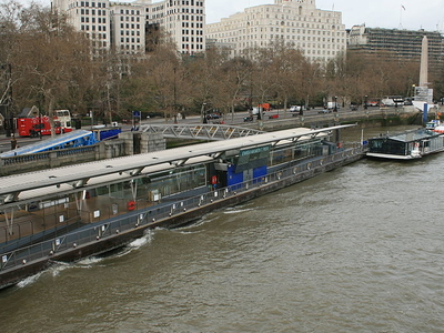 A Bateaux London Restaurant Boat At The Pier