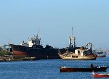 A Couple Of Abandoned Ships At Manora Island