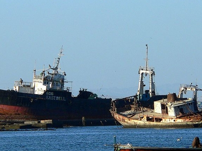A Couple Of Abandoned Ships At Manora Island