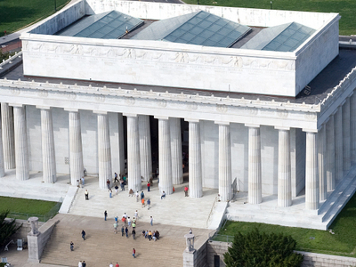 Aerial View Of  Lincoln  Memorial    East Side
