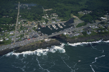 Aerial View Of The Harbor And Center Of Depoe Bay