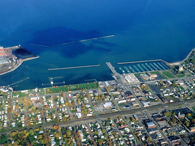 Aerial View Of Dunkirk Facing North Over Lake Erie.