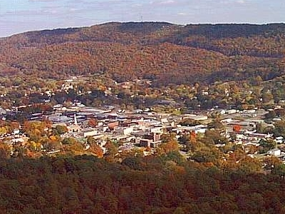 Aerial View Of Fort Payne Alabamalookout Mountain In Background