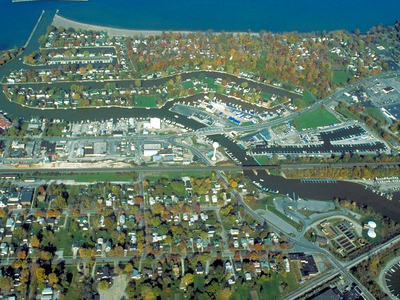 Aerial View Of Vermilion Ohio. View Is To The North Over Lake Er