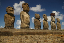 Six Of The Fifteen Moai At Ahu Tongariki