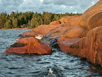 Aland Islands Red Rock In Finland