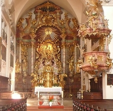 Altar And Pulpit, St. Mary's Church, Steyr, Austria