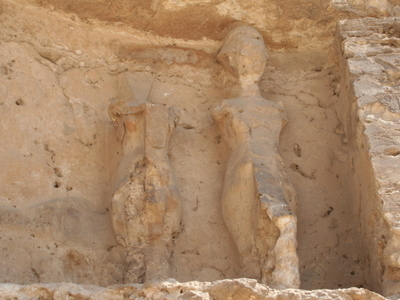 Statues To The Left Of Boundary Stela U In Tell El-Amarna