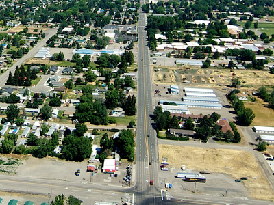 An Aerial View Of Gooding Idaho From The South.