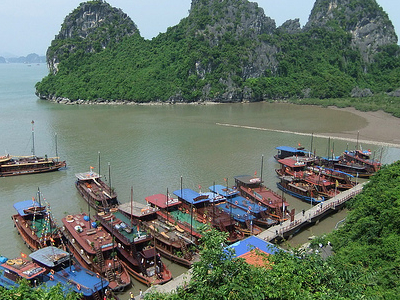 Anchored Boats At Ha Long Bay