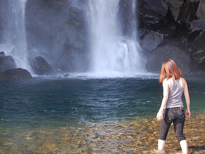 At The Bottom Of Jeongbang Waterfall