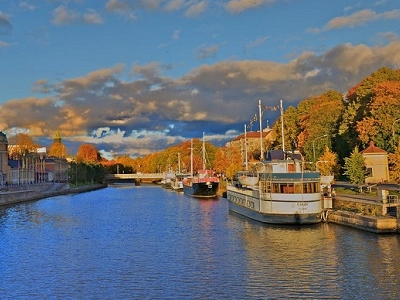 Aurajoki With Cruise Boats In Finland