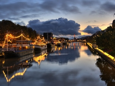 Aura River Vdiew At Night In Turku - Finland