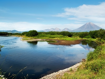 Avacha River View With Koryaksky In Backdrop - Kamchatka