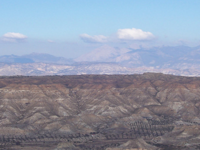 The Badlands In The Granada Plateau Guadix Depression