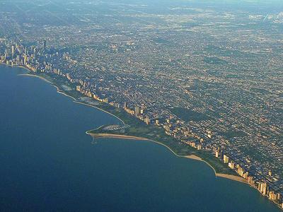 Aerial View Of Seven Mile Long Lincoln Park Shoreline