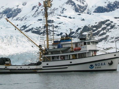 A Research Ship Of Noaa In The Glacier Bay