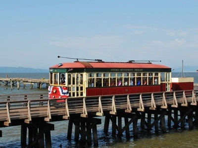 Astoria Riverfront Trolley On Columbia River