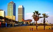 Barcelona Port Olympic Seen From Beach
