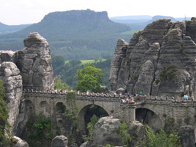 Bastei Bridge Within The Elbe Sandstone Mountains
