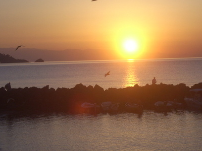 Bay Of Giardini Naxos At Sunrise