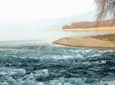 Black Drin River Flowing Into Ohrid Lake