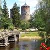 Bridge & Olavinlinna Castle Gardens At Savonlinna In Finland