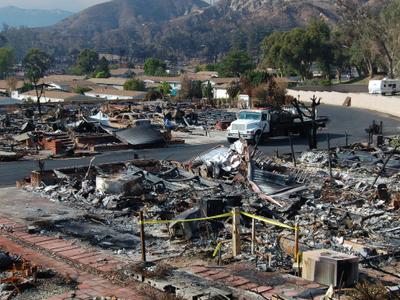 Burned Mobile Home Neighborhood In  California Edit