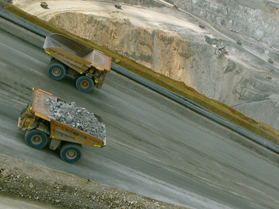 Haul Trucks At The Batu Hijau Mine
