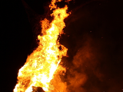 Wicker Man On Fire At The Archaeolink Outdoor Museum