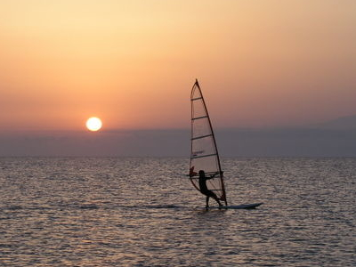 Cabo De  Gata  Sunset  Windsurfing