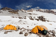 Camp At Mount Aconcagua In Argentina