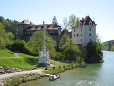Castle Wernstein And Statue Of Virgin Mary, Upper Austria