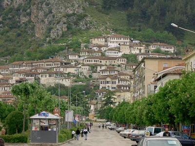 Citadel Of Berat Pictured At The Top Of The Hill