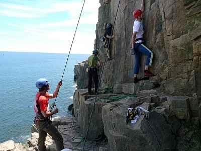 Climbers At Otter Cliffs - Acadia - Maine