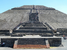 Climbing Pyramid Of The Sun In Teotihuacan